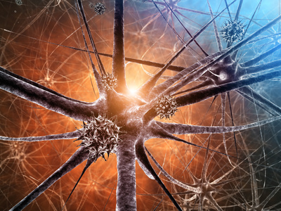 close-up neurons with bright light in brain