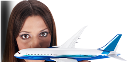 Fear of flying hypnotherapy - woman holding large toy passenger jet and looking from behind at camera
